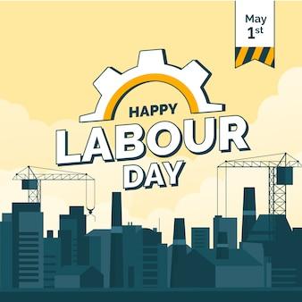 Illustration plate avec la ville pour la fête du travail