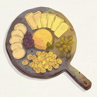 Illustration de plateau de fromages aquarelle avec accompagnements