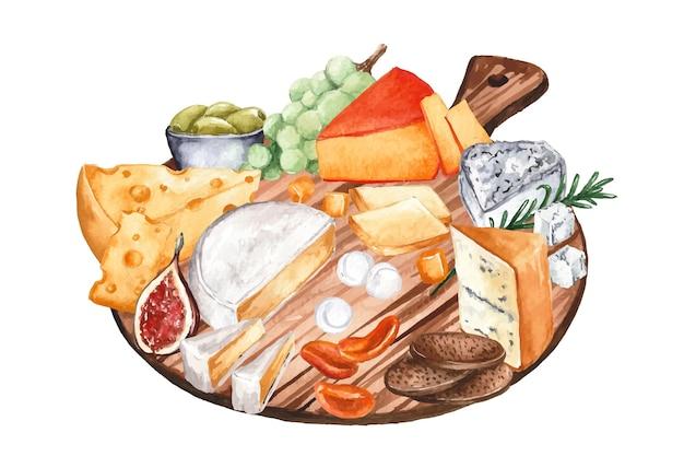Illustration de plateau de fromages aquarelle