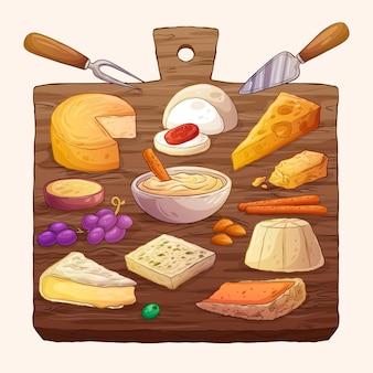 Illustration de plateau de fromages dessiné à la main