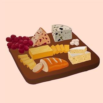 Illustration de plateau de fromages dessinés à la main avec accompagnements