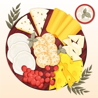 Illustration de plateau de fromages dessinés à la main