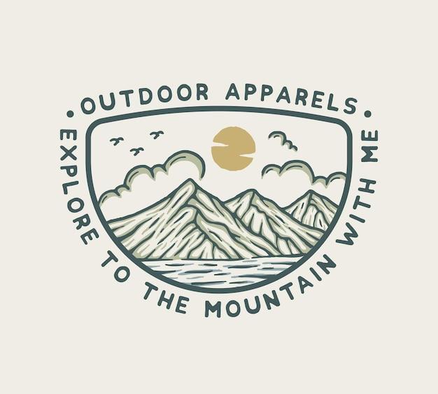 Illustration en plein air d'aventure en montagne