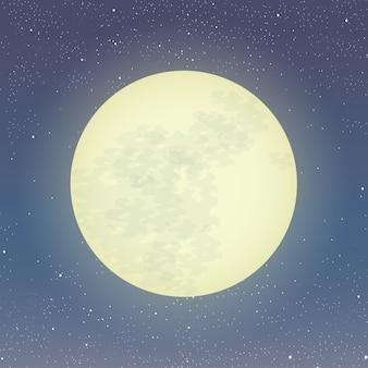 Illustration de la pleine lune. clair de lune sur ciel étoilé