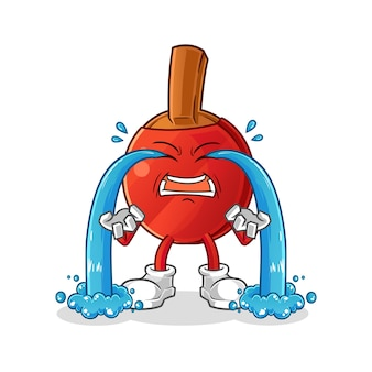 Illustration de pleurs de batte de tennis de table. personnage