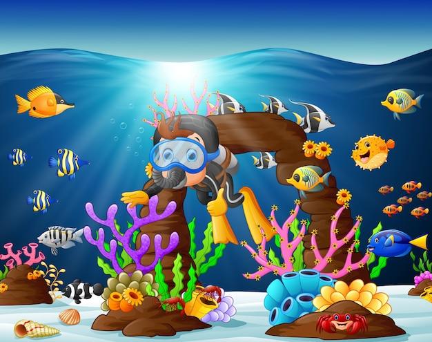 Illustration de plongeur sous la mer