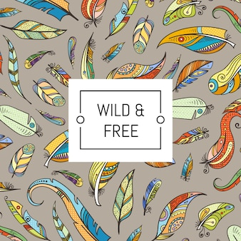 Illustration de plumes de couleur boho doodle vecteur