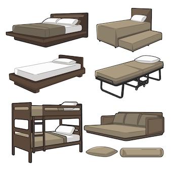 Illustration de plusieurs types de lit