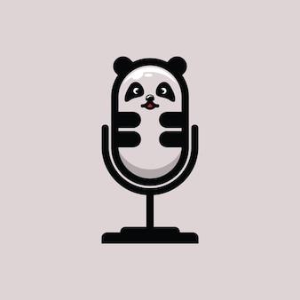 Illustration de podcast logo plat panda