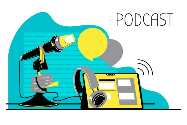 Illustration sur le podcasting. équipement de podcast
