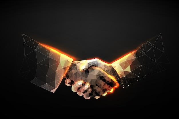 Illustration d'une poignée de main à deux mains sous la forme d'un ciel étoilé ou d'un espace