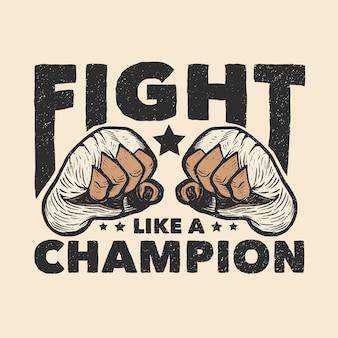 Illustration de poings de boxe muay thai