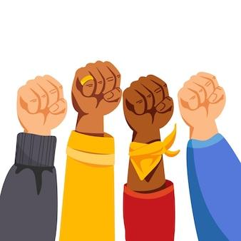 Illustration de poings levés multiraciaux