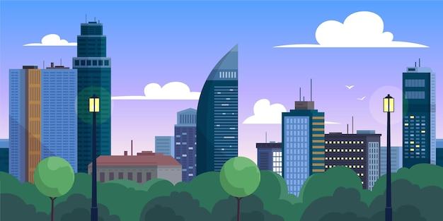 Illustration de points de repère sur les toits de la ville