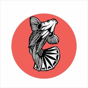 Illustration de poisson betta splendens dessiné à la main
