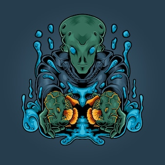 Illustration de poisson corne fleur extraterrestre