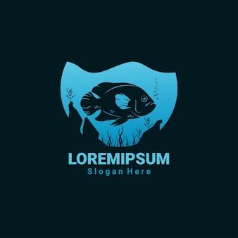Illustration de poisson logo sombre