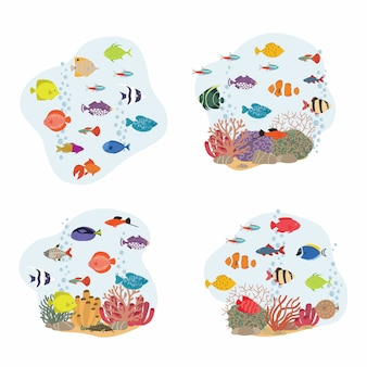 Illustration de poisson mignon. poissons tropicaux, poissons de mer, poissons d'aquarium