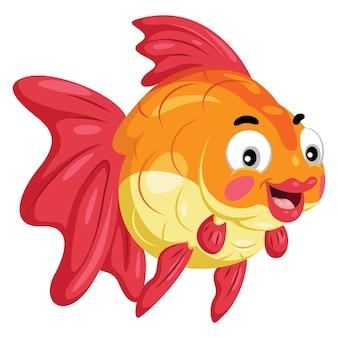 Illustration de poisson rouge de dessin animé mignon