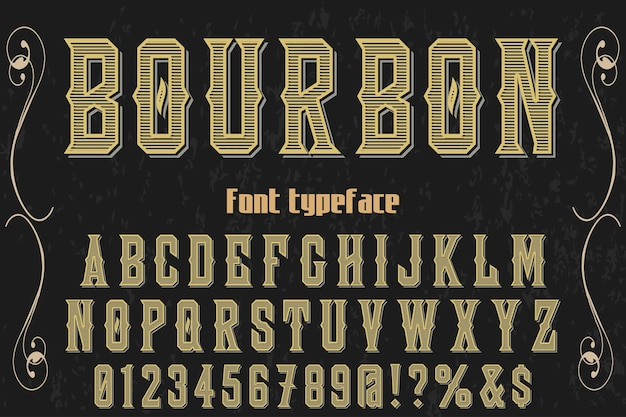 Illustration de police alphabet bourbon