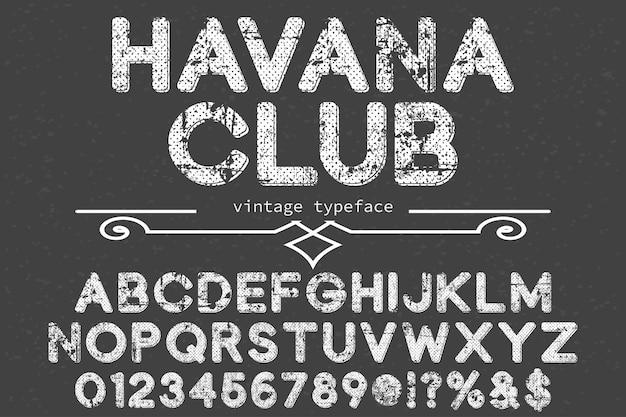 Illustration de police alphabet havana club