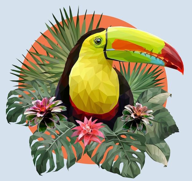 Illustration polygonale oiseau toucan et plantes de forêt amazonienne.