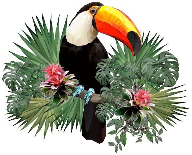Illustration polygonale d'oiseaux toucan et plantes de la forêt amazonienne