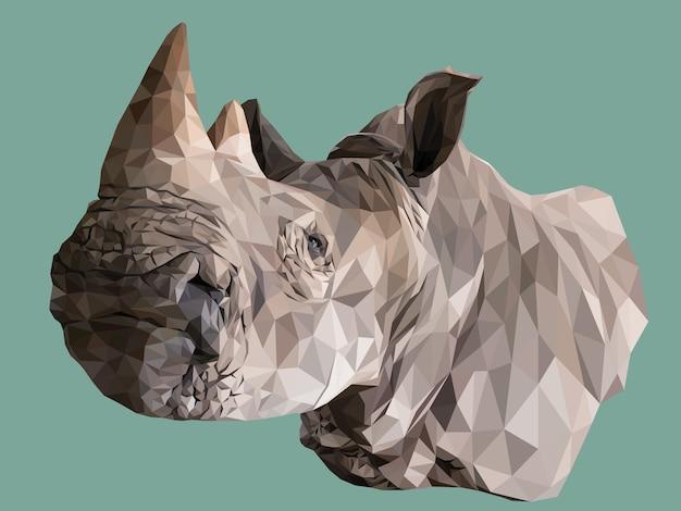 Illustration polygonale de la tête de rhinocéros