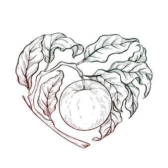 Illustration de pomme noir et blanc