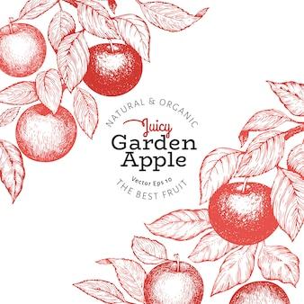 Illustration de pomme rétro fruit style gravé