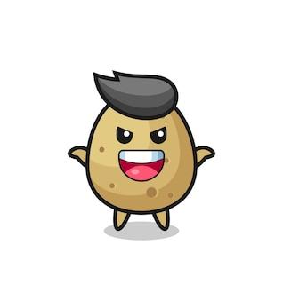L'illustration d'une pomme de terre mignonne faisant un geste effrayant, un design de style mignon pour un t-shirt, un autocollant, un élément de logo