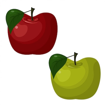 Illustration des pommes lumineuses abstraites, vertes et rouges.