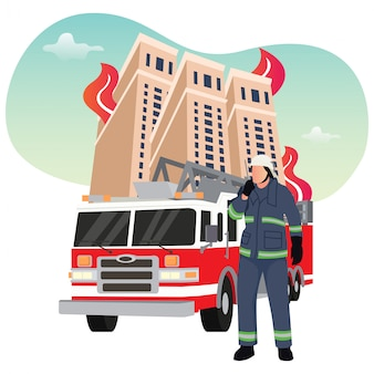 Illustration d'un pompier combattant avec un incendie, un pompier utilise un escalier avec un camion de pompiers pour la page de destination