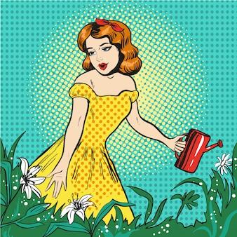 Illustration pop art de belle fille, arrosage des fleurs