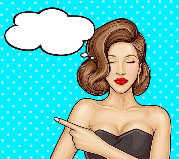 Illustration de pop art d'une belle fille dans une robe luxueuse pointant du doigt quelque chose ou des informations sur une vente, bulle de dialogue. affiche pour les ventes publicitaires, les remises et les services.