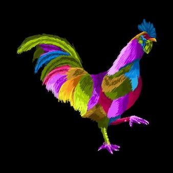 Illustration de pop art coq coloré