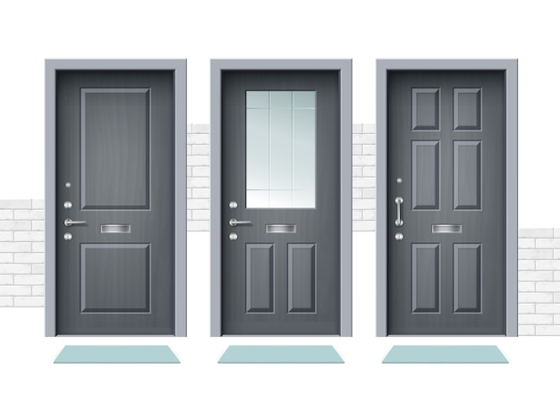 Illustration de la porte d'entrée blanche fermée ensemble de porte en bois appartement intérieur porte fermée avec charnière en fer