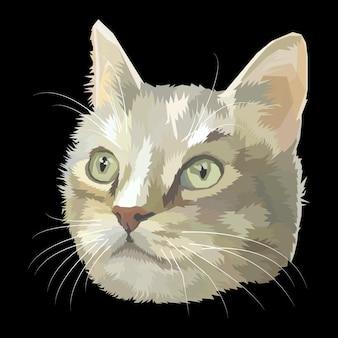 Illustration de portrait de chat pop art