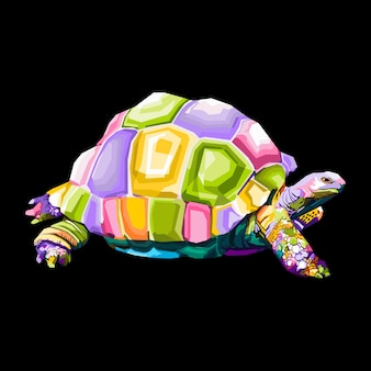 Illustration de portrait pop art tortue colorée