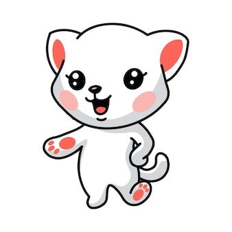 Illustration de la pose de dessin animé mignon petit chat blanc