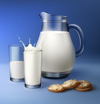 Illustration de pot et deux verres de lait avec des éclaboussures et des biscuits