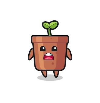 Illustration de pot de plante avec expression d'excuse, disant que je suis désolé, design de style mignon pour t-shirt, autocollant, élément de logo
