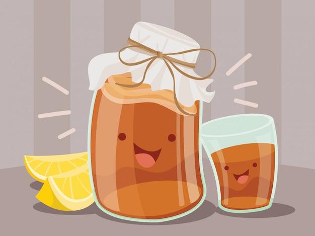 Illustration d'un pot et d'un verre de kombucha heureux ou de thé glacé