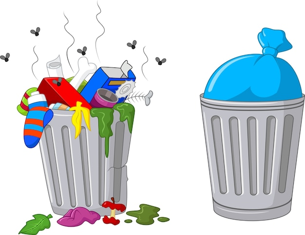 Illustration d'une poubelle de dessin animé