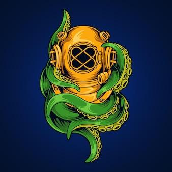 Illustration de poulpe de casque de plongeur