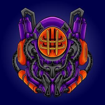 Illustration de poulpe robot mécanique