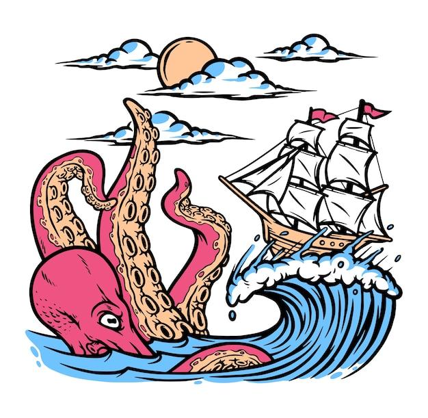 Illustration de poulpe et voilier