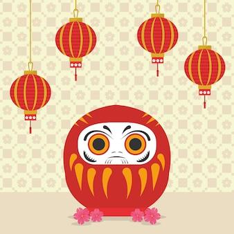 Illustration de poupée daruma avec des lanternes décoratives en papier