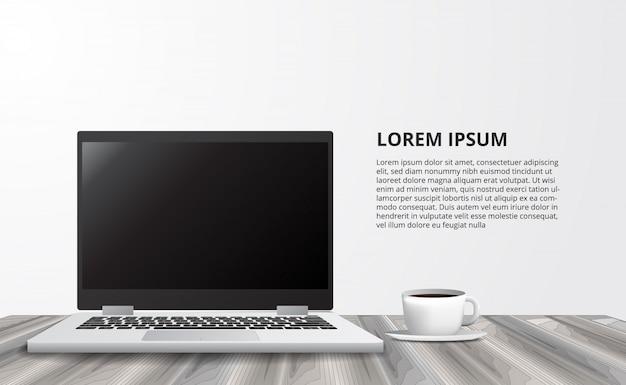 Illustration pour bureau concept indépendant concept d'affaires avec ordinateur portable de vue de face