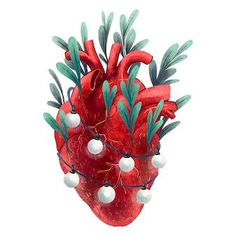Illustration pour le coeur anatomique imprimé du nouvel an à partir duquel des feuilles de gui poussent avec des guirlandes de lanternes enveloppées nouvel an dans le coeur